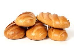 Five loaves of white bread. Isolated on white Royalty Free Stock Images
