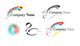 Five logos: a dove and others Stock Image