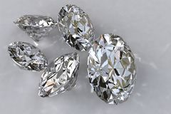Five loose diamonds royalty free illustration