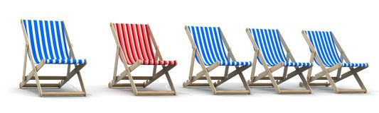 Five lounger blue and one red Royalty Free Stock Photo