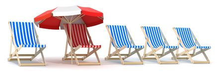 Five lounger blue and one red Royalty Free Stock Photography