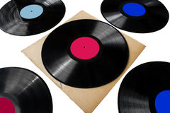 Five lps records. Records American recording label Music Entertainment Music Group enterprise American Graphophone Company record records Royalty Free Stock Photos