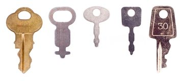Five luggage keys Stock Photo