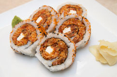 Five maki rolls on a white dish Royalty Free Stock Image