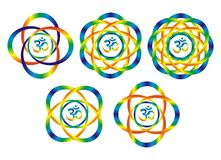Five mandalas with aum/om symbol. Rainbow abstract objects. Disk, rotation. Bright colors for decoration. Interior painting Royalty Free Stock Image