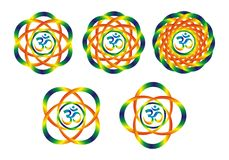 Five mandalas with aum/om symbol. Rainbow abstract objects. Disk, rotation. Bright colors for decoration Stock Image