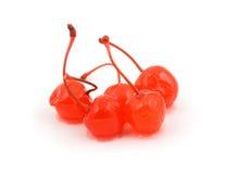 Five maraschino cherries Stock Photo
