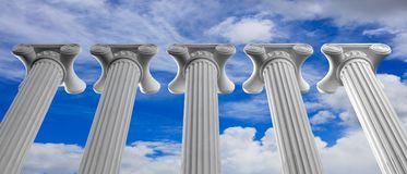 Five marble pillars of islam or justice and steps on blue sky background. 3d illustration Royalty Free Stock Photos