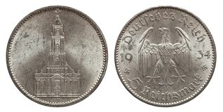 Five mark coin silver germany 1934. Front garrison church in Potsdam, reverse eagle stock images