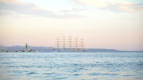 Five masted barquentine. Five masted barquentine moored on the bay stock video