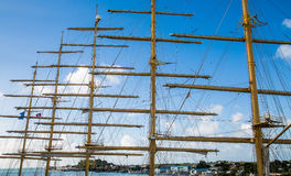 Five Masts Against Blue Sky Royalty Free Stock Photos