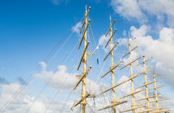 Five Masts Against Sky Royalty Free Stock Photography