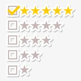 Five matted yellow web button stars ratings stickers Stock Images