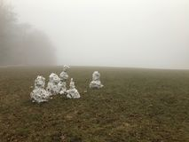 Five melting snowmen on meadow royalty free stock photos