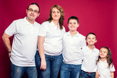 Five Member Family Smiling Stock Images