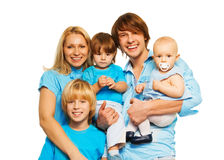 Five members of happy family stock photography
