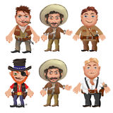 Five men characters in a cartoon wild West style Stock Photo