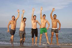 Five men having fun on the beach Royalty Free Stock Photo