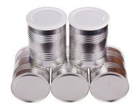 Five metal cans. Stock Photos