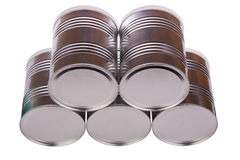Five metal cans. Stock Photo