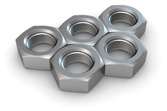 Five metal nuts Royalty Free Stock Photos