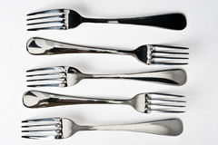 Five metallic fork Stock Image