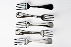Five metallic fork Stock Photos