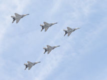 Five MiG-29 aircraft in the sky Royalty Free Stock Photos