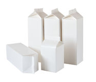 Five Milk Boxes per half liter and liter on White Stock Photos