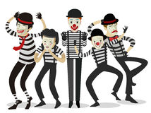 Five mime clowns cute happy. Five mime clowns playing actors in theater stage happy cute Royalty Free Stock Photos