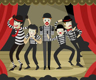 Five mime clowns playing actors in theater stage. Happy cute Stock Photography