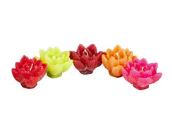 Five Minature Candles in Assorted Bright Colors Royalty Free Stock Photos