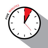 Five Minutes Clock. Royalty Free Stock Photos