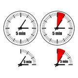 Five Minutes Clock on white background. Four options Royalty Free Illustration