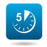 Five minutes icon, flat style Stock Images