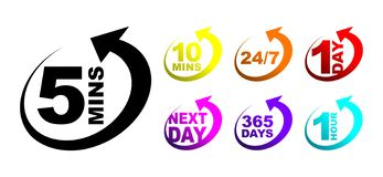 Free Five Minutes Icon Set Royalty Free Stock Image - 136964436