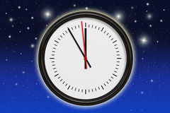 Five minutes before midnight. Illustration of a clock with five minutes before midnight in background stars in night sky royalty free illustration