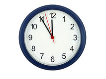 Five Minutes Till Midnight. Isolated Clock Stock Images