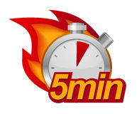 Five minutes timer. With fire on background Royalty Free Stock Images