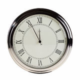 Five minutes to midnight. Five minutes to midnight on retro watch isolated over white background Stock Photography