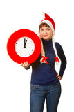 Five minutes to midnight clock and xmas girl Stock Photography