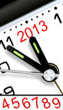 Five Minutes To Next Year. Closeup of Clock Hands, Five Minutes to Midnight and The Year 2013, with additional matching cut-and-paste numbers good through 2019 Stock Images