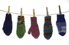 Five Mittens Hanging Stock Image