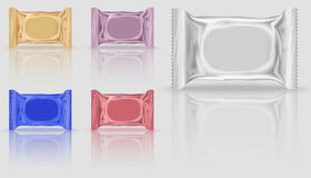 Five mock-up biscuits package. In different colors, orange and red, purple and blue. Blank Foil Packaging Plastic Package for design in 3d illustration Royalty Free Stock Photo