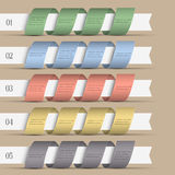 Five modern numbered ribbons-banners Stock Image