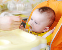 Five-months baby is fed by puree. The five-months baby is fed by puree from a spoon Royalty Free Stock Photography