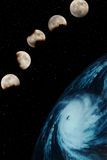 Five moons and planet Royalty Free Stock Image