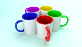 Five mugs with colorful elements 3D render royalty free stock photo