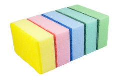 Five multi-colored kitchen sponges Stock Photography