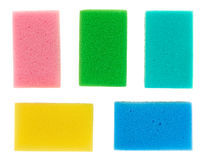 Five multicolored cellulose kitchen sponges. Isolated on white stock image